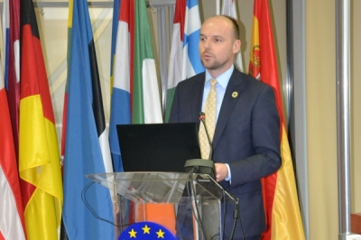 Заменикот министер за локална самоуправа Дејан Павлески на Конференција за национални политики и локални акциски планови за правичен пристап до вода и санитација